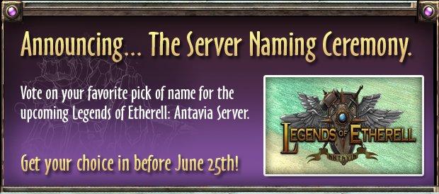 aluna games website legends of etherell: Antavia server naming ad